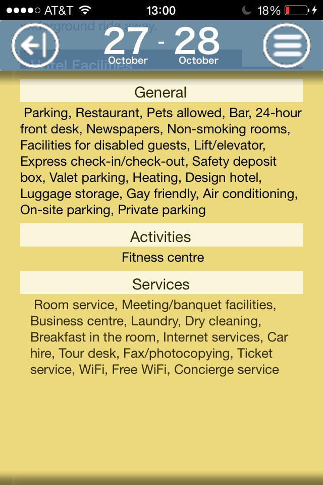 Hotels facilities
